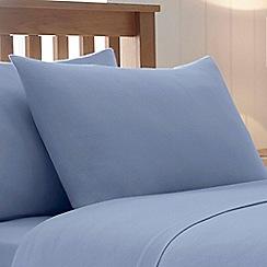Debenhams - Pale Blue Brushed Cotton Flannelette Standard Pillow Case Pair