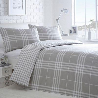 Home Collection Basics Grey Checked Hugo Bedding Set