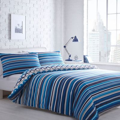 home collection basics blue striped jackson bedding set 10880 | 306905909145