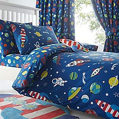 bluezoo - Kids' blue space print duvet cover and pillow case set