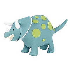 bluezoo - Children's turquoise 'stevie' triceratops cushion