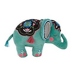 MW by Matthew Williamson - Designer green embroidered floral elephant cushion