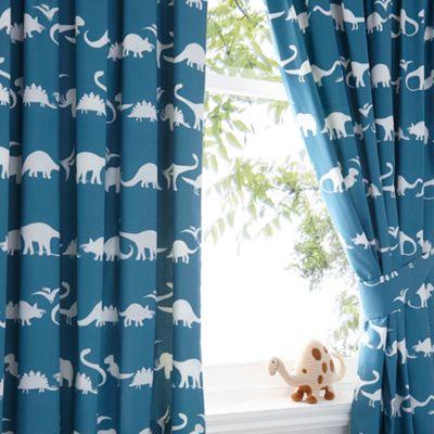 Bluezoo Kids Blue Dinosaur Print Curtain Set