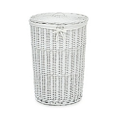 Home Collection - White wicker laundry basket