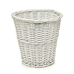 Home Collection - White wicker waste basket