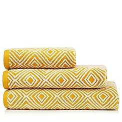 J by Jasper Conran - Dark Yellow Diamond Pattern Towels