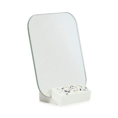 Home Collection   White Cosmo Speckled Mirror And Stand by Home Collection