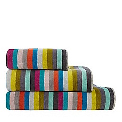Debenhams - Multi-coloured 'Lizzie' striped print towels