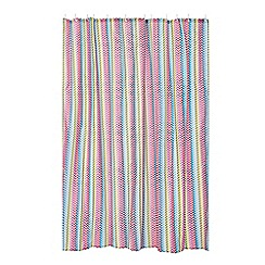 Home Collection Basics - Multi-coloured chevron print shower curtain