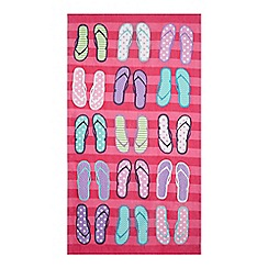 Home Collection - Pink flip flop print beach towel