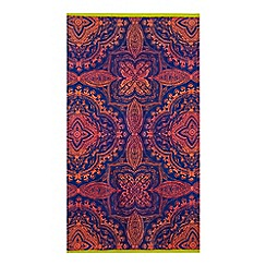 Home Collection - Navy and orange mandala print beach towel