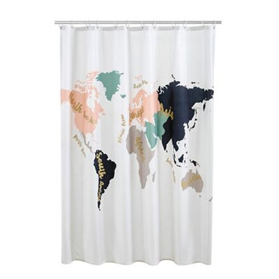 Shower curtains home debenhams home collection multi coloured cosmo world map print shower curtain gumiabroncs Images