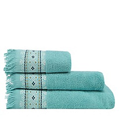 MW by Matthew Williamson - Latte Light Brown and White 'Palermo' Towels