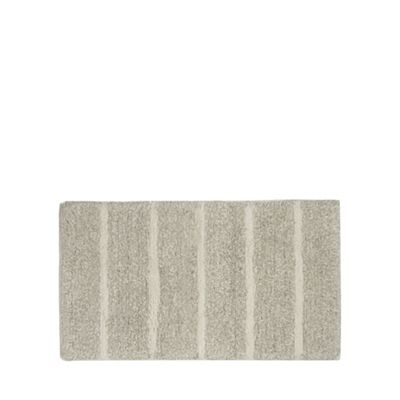 Home Collection   Pale Grey Marl Striped Bath Mat by Home Collection