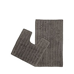 Home Collection - Dark grey pedestal and bath mat set