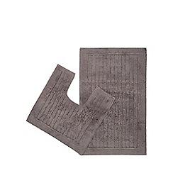 Christy - Grey pedestal and bath mat set