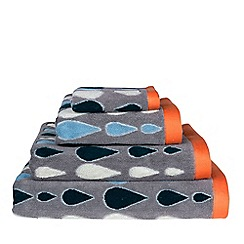 Donna Wilson - Grey rain drops print cotton towel