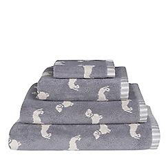 Emily Bond - Grey dachshund print towel