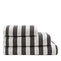 Debenhams - Dark Grey Wide Stripe Towels