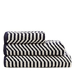 J by Jasper Conran - Navy Geometric Wave Print Towels