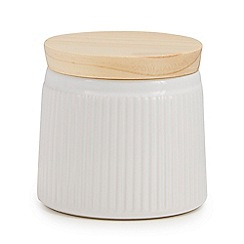 Home Collection - White 'Scandi' retro storage pot