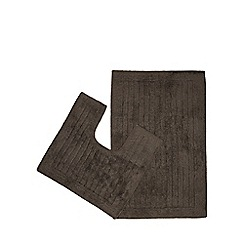 Christy - Dark grey cotton bath mat and pedestal set
