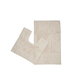 Christy - Beige cotton bath mat and pedestal set