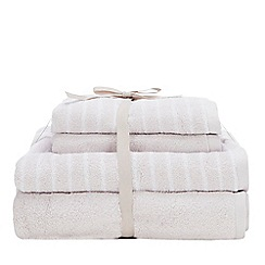 Debenhams - Taupe Plain and Striped Soft Towel Bale