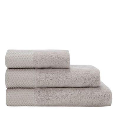 308010682763: Grey Metallic Oval Trim Towel