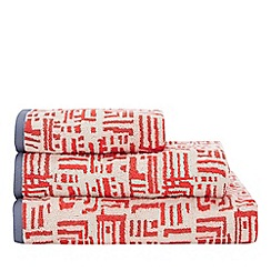 Debenhams - Red Patterned Cotton Towels