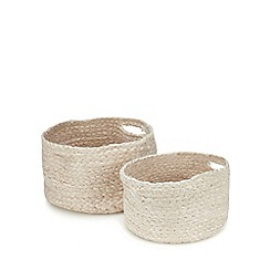 Debenhams - 2 Pack Natural Woven Storage Basket