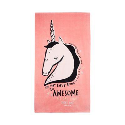 308010685205: Pink Unicorn Beach Towel