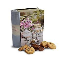 Debenhams - 'Afternoon Tea' large book shaped novelty biscuit tin - 400g