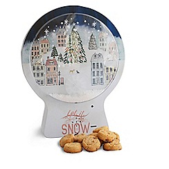 Debenhams - Musical snow globe shaped biscuit tin - 300g