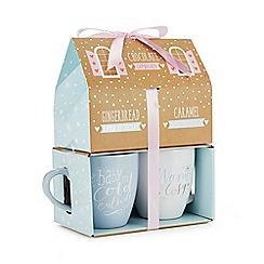 Debenhams - 2 Pack Printed Mugs, Hot Chocolate And Biscuits Set