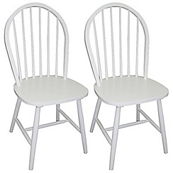 Debenhams - Pair of white painted 'Windsor' chairs