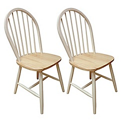 Debenhams - Pair of ivory painted 'Windsor' chairs