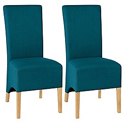 Debenhams - Pair of teal blue 'Nina' wing back upholstered dining chairs with light oak legs