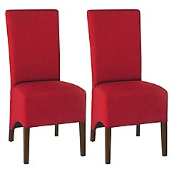 Debenhams - Pair of red 'Nina' wing back upholstered dining chairs with dark wood legs