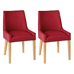 Debenhams - Pair of linen red 'Ella' upholstered tub dining chairs with light oak legs