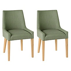 Debenhams - Pair of linen duck egg blue 'Ella' upholstered tub dining chairs with light oak legs