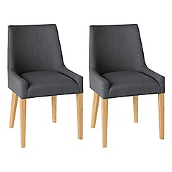 Debenhams - Pair of linen steel grey 'Ella' upholstered tub dining chairs with light oak legs
