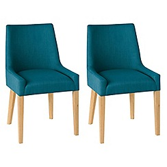 Debenhams - Pair of linen teal blue 'Ella' upholstered tub dining chairs with light oak legs