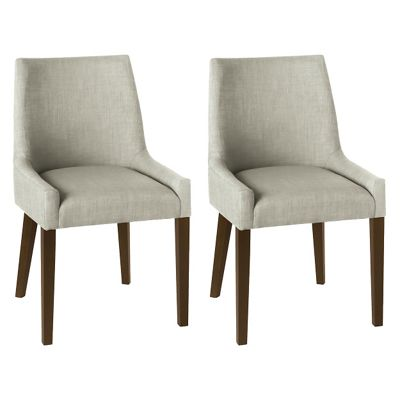 Debenhams Pair Of Linen Beige Ella Upholstered Tub Dining Chairs With Dark Wood Legs Debenhams