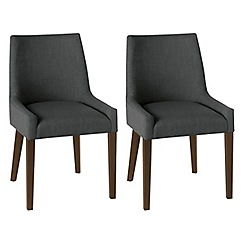 Debenhams - Pair of linen charcoal grey 'Ella' upholstered tub dining chairs with dark wood legs