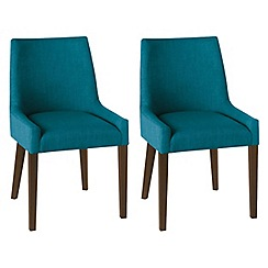 Debenhams - Pair of teal blue 'Ella' upholstered tub dining chairs with dark wood legs