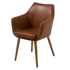 Debenhams - Brown leather-look 'Nia' carver chair
