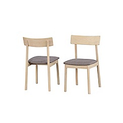Debenhams - Pair of oak 'Contempo' dining chairs with grey fabric seat pad