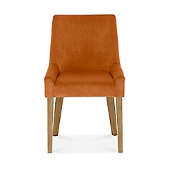 Debenhams - Pair of linen orange 'Ella' upholstered tub dining chairs with light wood legs