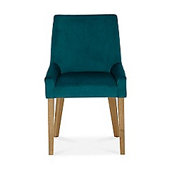 Debenhams - Pair of linen teal 'Ella' upholstered tub dining chairs with light wood legs